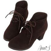 Ann'S復古英倫-素面綁帶顯瘦粗跟踝靴-深咖啡
