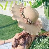沙灘帽女 草帽女防曬遮陽大檐太陽帽度假韓版百搭休閑帽子女沙灘帽時尚潮帽 小衣裡