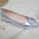 現貨 MIT小中大尺碼平底尖頭鞋推薦 閃耀女神 全真皮水鑽方框平底鞋 21-26 EPRIS艾佩絲-冰鑽銀