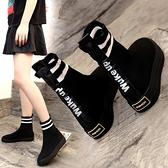 襪靴 彈力襪子鞋女2021夏季網紅秋款女鞋秋季新款潮鞋飛織高筒運動短靴 快速出貨
