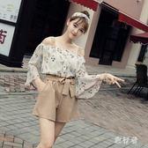 兩件式套裝女時尚兩件套新款一字肩喇叭袖雪紡衫闊腿短褲休閒套裝 mj13655【旅行者】