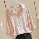 短袖襯衫 含棉v領白色寬鬆襯衫女夏簡約套頭前短后長蝙蝠袖襯衣女 麗人印象 免運