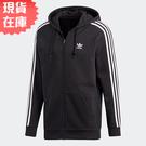 【現貨在庫】 Adidas 3-STRIPES HOODIE 男裝 外套 連帽 休閒 刷毛 黑【運動世界】DV1551