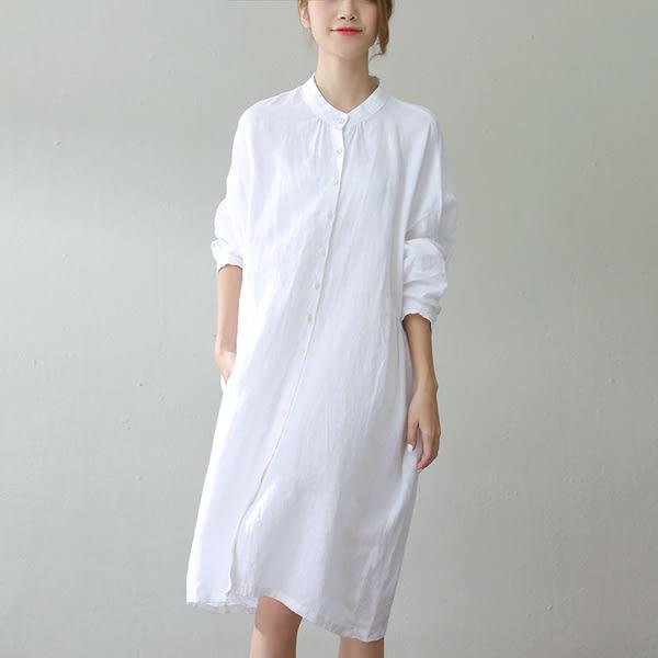 洋裝-簡約小立領寬鬆亞麻白襯衫裙-設計家 SC745