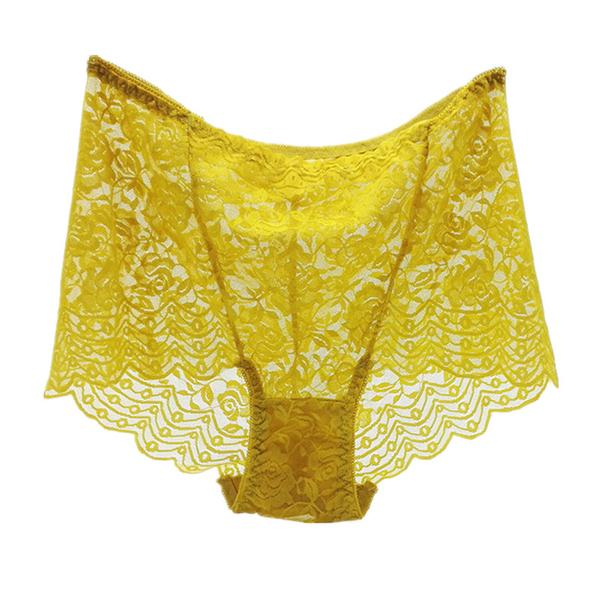 女士中高腰蕾絲大碼內褲 網紗收腹提臀女內褲蕾絲性感透明女內褲6入-1169