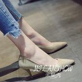 淺口單鞋韓版百搭個性尖頭復古絨面鞋子細跟高跟鞋