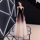 晚禮服女新款宴會高貴優雅黑色