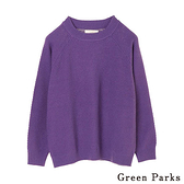 「Hot item」編織感圓領素面針織上衣 - Green Parks