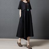 洋裝 中大尺碼女裝 夏裝新款2021寬鬆大碼圓領短袖中長款連身裙子胖妹妹文藝復古