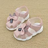女寶寶涼鞋夏季新款軟底防滑兒童叫叫鞋皮面包頭學步鞋小童公主鞋