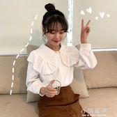 春季女裝韓版氣質蕾絲邊娃娃領白襯衫學生休閒打底衫內搭襯衣上衣『小淇嚴選』