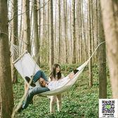 純棉帆布本白色吊床 帶木桿單人室內戶外休閒 成人野露營秋千攝影  99一件免運居家