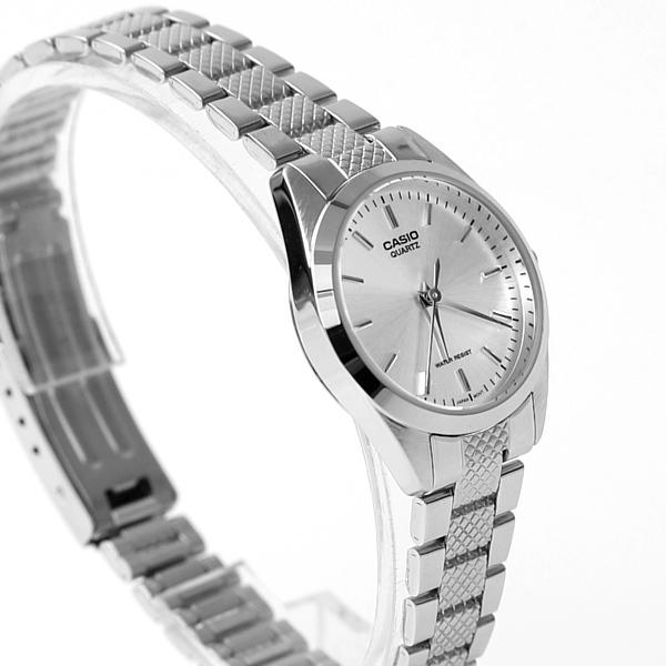 CASIO卡西歐格紋錶帶銀色腕錶 經典錶款【NEC126】