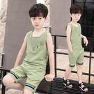 男童夏季背心套裝短袖2018新款兒童無袖兩件套中大童韓版休閒 童裝   初見居家