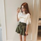 套裝  2018夏季新款韓版荷葉邊雪紡衫 蝴蝶結闊腿短褲兩件套裝