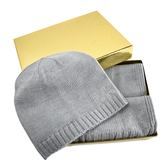 美國正品  MICHAEL KORS 鉚釘LOGO圍巾/毛線帽禮盒組-灰色 【現貨】