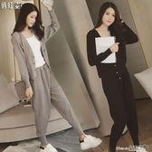 兩件套 時尚休閒套裝女秋針織衫寬鬆洋氣氣質時髦兩件套裝潮【小天使】