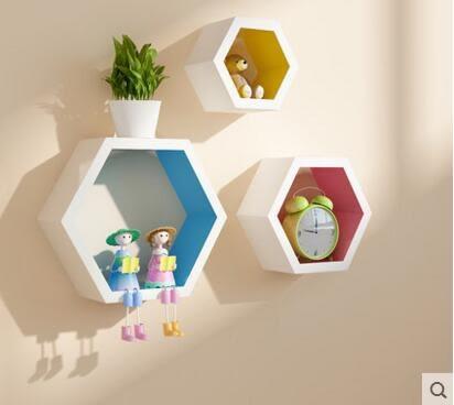 牆上置物架壁掛牆面創意格子電視背景牆裝飾架客廳牆壁置物架隔板【內彩三件套】