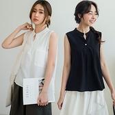 MIUSTAR 方形雙口袋單釦亨利領棉麻背心(共3色)【NJ1121】預購