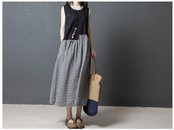 漂亮小媽咪 簡約洋裝 【D8989】 格紋 無袖 長裙 連身裙 孕婦洋裝 孕婦裝 長洋裝