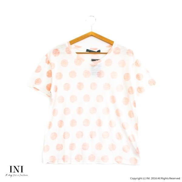【INI】質感加分、進口透氣舒適竹節棉點點上衣.橙色