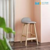 【MH家居】吧檯椅 實木吧椅 原木椅 韓國 海姆實木吧台椅灰色