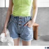《BA2131》排釦造型褲管反褶牛仔短褲‧2色 OrangeBear