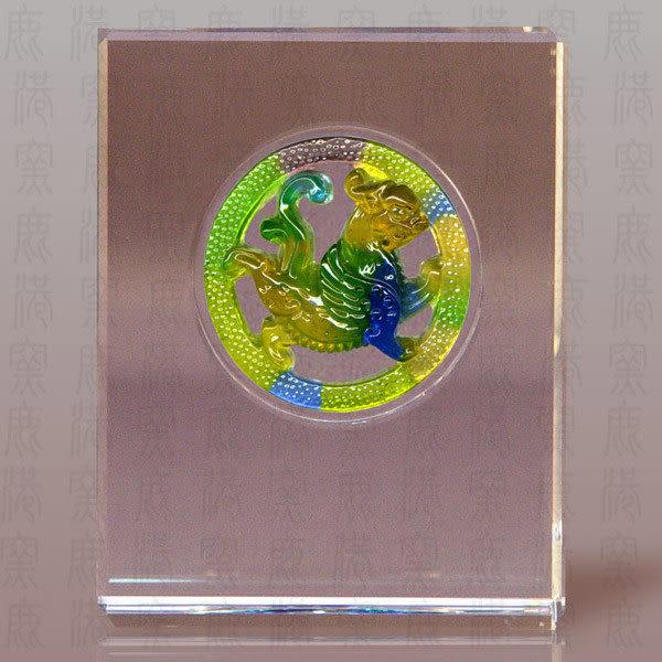 鹿港窯~居家開運S水晶鑲琉璃~添翼威虎 ◆附精美包裝 ◆附古法制作珍藏保證卡◆免運費送到家
