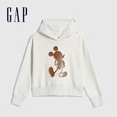 Gap女童 迪士尼主題抓絨連帽休閒上衣 618382-灰白色