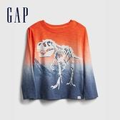 Gap男幼童 創意漸層印花圓領T恤 649651-橘色浸染
