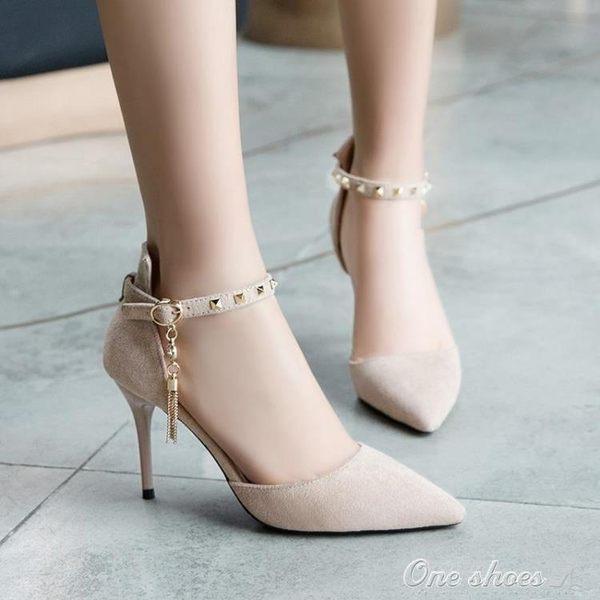 高跟鞋 女細跟女鞋季中跟尖頭款百搭鞋子季淺口單鞋one shoes