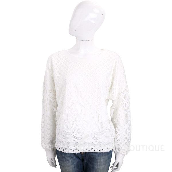 TRUSSARDI 白色縷空拼接蕾絲長袖上衣 1720304-20