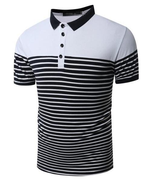 FINDSENSE Z1 日系 流行 男 時尚 大碼 立領 商務 條紋拼接 短袖