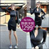 克妹Ke-Mei【AT56249】獨家自訂,歐美單!S曲線精工拉鍊小高領修身洋裝