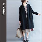 中大尺碼 寬鬆中長版長袖針織外套 罩衫★ifairies【66258】