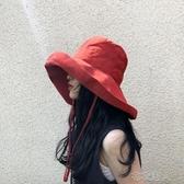 超大帽檐遮臉漁夫帽女夏天防紫外線遮陽帽防曬日繫百搭帽子韓版潮 布衣潮人