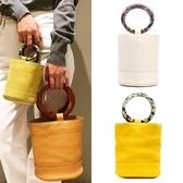 【YPRA】圓環水桶包時尚手拎包彩色手環手提女包