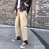 工裝褲秋冬季鬆緊腰直筒休閒褲9分褲子男寬鬆潮流韓版男士純色長褲