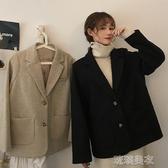 西裝秋冬季2019新款韓版寬鬆呢子大衣中長款復古港風西裝外套女ins潮 琉璃美衣