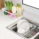 買2送1 可伸縮碗架碗筷碗柜置物架瀝水架【櫻桃川島】