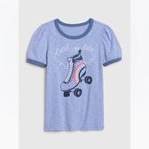 Gap女童棉質舒適圓領短袖T恤540440-淺藍色
