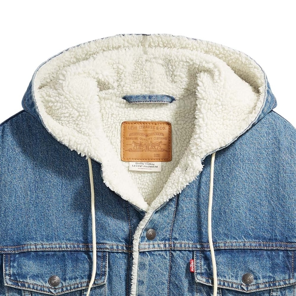 Levis 男款 連帽牛仔外套 / Oversize寬鬆版型 / Sherpa棉花絨