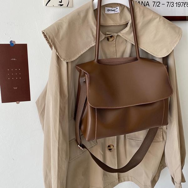 (免運)DE shop - 網紅復古公文包女小眾設計單肩斜挎大包 - M-7587