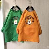 兒童畫畫防水罩衣長款中大童幼兒園繪畫衣長袖圍裙可印字訂製logo