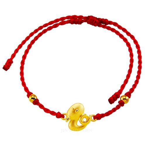 甜蜜約定金飾-好運12生肖-蛇-紅繩黃金手鍊