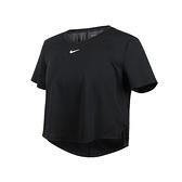 NIKE 女短版短袖T恤(Dri-FIT 運動 上衣 慢跑 路跑 免運 ≡排汗專家≡