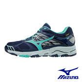 MIZUNO G TX防水透氣 WAVE MUJIN 4 戶外慢跑鞋 深藍X湖水綠 J1GK175733 女鞋