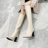 顯瘦長靴女不過膝高跟彈力皮靴2021年新款粗跟高筒靴帥氣機車靴女3C數位百貨