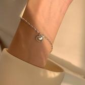 s925銀米粒愛心閨蜜手鏈女學生設計感小眾復古甜美桃心手串【繁星小鎮】