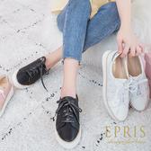 現貨 全真皮休閒透氣布鞋 好走不磨腳馬卡龍色系好搭配 35-39 EPRIS艾佩絲-時尚黑